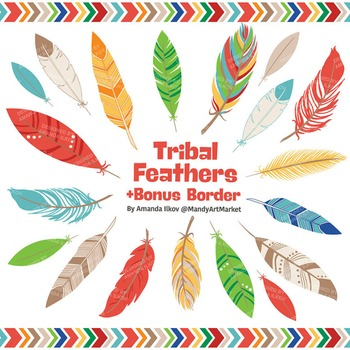 Be Brave Tribal Feathers Clipart & Vectors in Crayon Box -