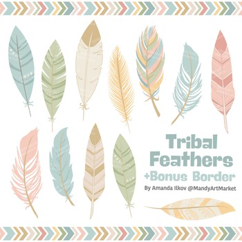 Be Brave Tribal Feathers Clipart & Vectors in Grandmas Garden - Feather Clip Art