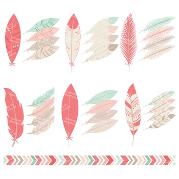 Be Brave Tribal Feathers Clipart & Vectors in Mint & Coral - Feather Clip Art