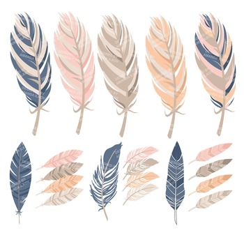 Be Brave Tribal Feathers Clipart & Vectors in Navy & Blush - Feather Clip Art