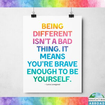 Be Different Be Yourself Quote Inspirational Poster Bulletin Board