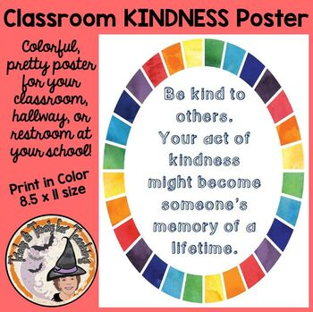 Be KIND to others Memory of a Lifetime Poster Back to School KINDNESS motivation