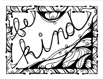 Be Kind Coloring Page Summer