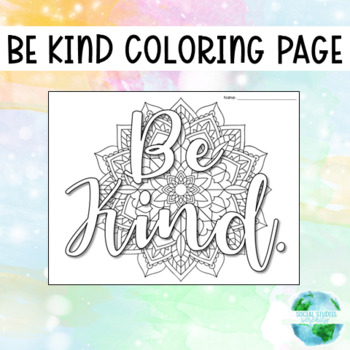 Be Kind Coloring Page By Social Studies Serenity Tpt