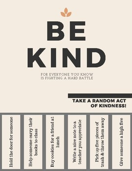 Be Kind Flyers - Random Acts of Kindness for your School Community