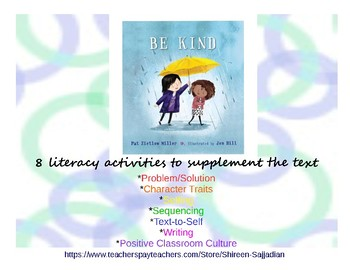 Be Kind Literacy Activities Worksheets to Use with Text by Pat Miller