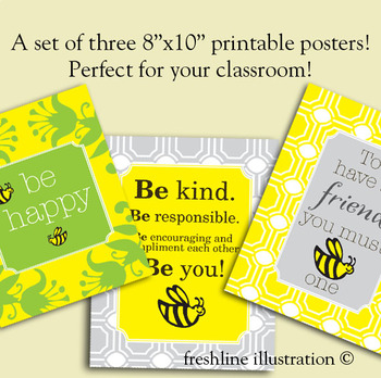 Be Kind Poster Set, Printable Posters for Classroom