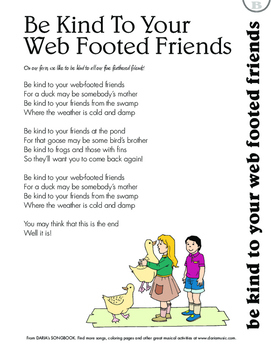 Be Kind To Your Webbed Footed Friends: Free Lyric Sheet