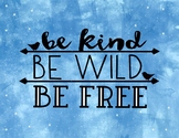 Be Kind Watercolor Inspirational Poster Classroom Decor Bulletin Printable FREE