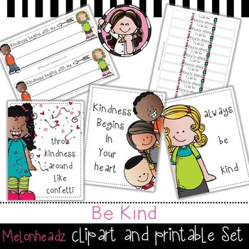 Be Kind clip art and printable set - by Melonheadz