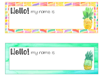 Be Like a Pineapple Watercolor Editable Nameplates