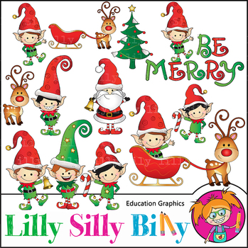 Be Merry, Christmas Clipart. Set. {Lilly Silly Billy}