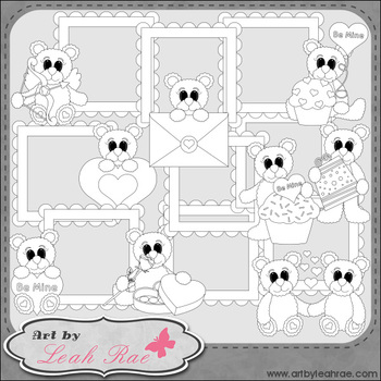 Be Mine Bear Frames 1 - Art by Leah Rae Clip Art & Line Art / Digital Stamps