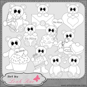 Be Mine Bears 1 - Art by Leah Rae Clip Art & Line Art / Digital Stamps