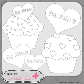 Be Mine Cupcakes 1 - Art by Leah Rae Clip Art & Line Art / Digital Stamps