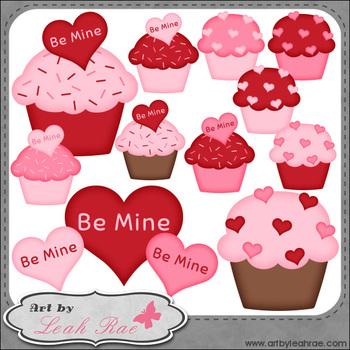 Be Mine Cupcakes 1 - Art by Leah Rae Clip Art & Line Art /