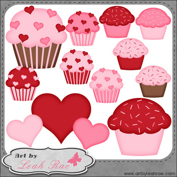 Be Mine Cupcakes 2 - Art by Leah Rae Clip Art & Line Art / Digital Stamps