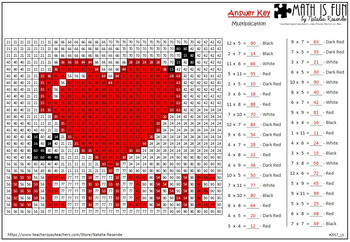 Be Mine - Mystery Picture - 4 operations - Four level difficulty FREEBIE