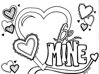 """""""Be Mine"""" Valentine Coloring Sheet"""