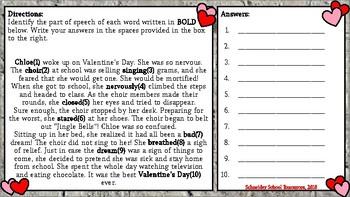 Be Mine Valentine!: Parts of Speech Task Card Activity for Valentine's Day