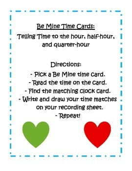 """""""Be Mine"""" Valentine Time Cards - 1.MD.3 and 2.MD.7"""