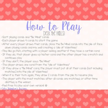 Be My Valentine!- A Go Fish With a Twist Card Game