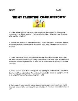 Be My Valentine, Charlie Brown Math Worksheet