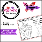 Be My Valentine Color by Sum (Sums up to 20)