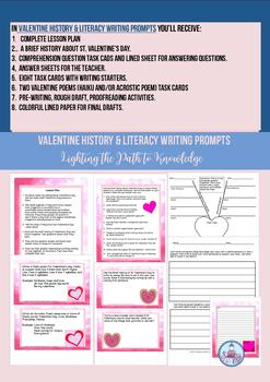 Valentine History & Literacy Writing Prompt Task Cards (Grades 4-8)