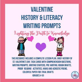 Valentine History & Literacy Writing Prompt Task Cards (Gr