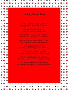Be My Valentine Mad Lib **easy to use**