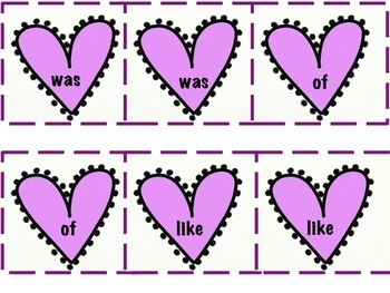 Be My Valentine Matching High Frequency Word Cards
