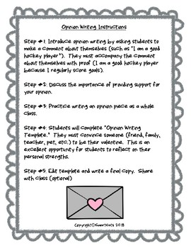 Be My Valentine Opinion Writing for Grades 4-8