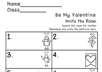 Be My Valentine Write the Room Music Edition tika tika Set
