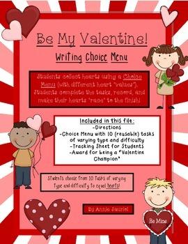 """Be My Valentine"" Writing Choice Menu ELA Literacy Station"
