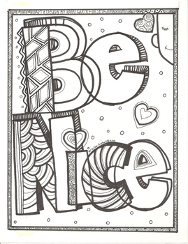 Be Nice Character Building Coloring Sheet