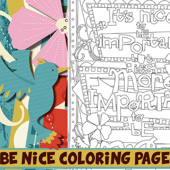 #kindnessnation Be Nice Coloring Page