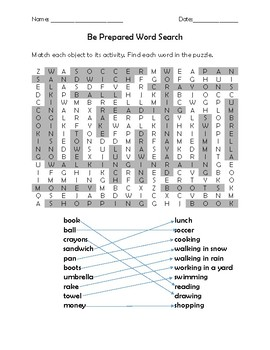 Be Prepared Quiz and Word Search for Kids