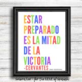 Spanish Poster - Be Prepared Quote - Spanish Classroom Decor