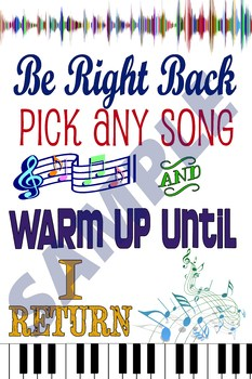 Be Right Back Sign for Music Class