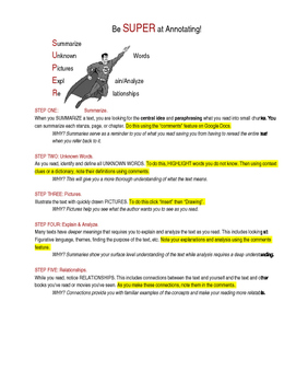 Using Google Docs (Google Classroom) to Annotate texts-Be SUPER at Annotating