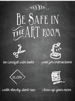 Be Safe in the Art Room Poster (Chalkboard Theme)