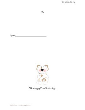 """""""Be, Said, A, The, My"""" Sight Word Book"""