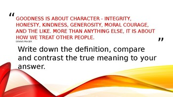 Character Quick Write: Be Statement