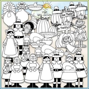 Be Thankful Clip Art - Thanksgiving Clip Art - Pilgrims - CU Clip Art & B&W