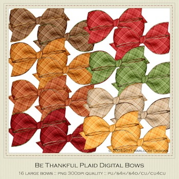 Be Thankful Colors Plaid Pattern Digital Bow Graphics