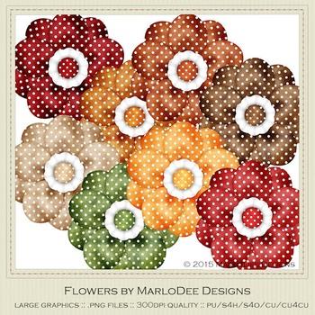 Be Thankful Colors Polka Dot Pattern Digital Flower Graphics