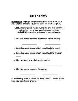 Be Thankful Vowel Graph/ Phonics