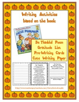 Be Thankful Writing Activities