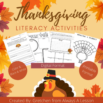 Be Thankful Thanksgiving Literacy Activities